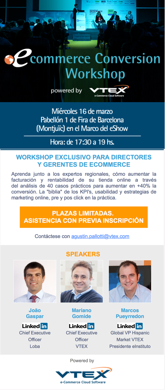 Workshop eConversion eShow Barcelona